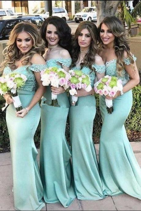 Mint Green Off Shoulder Lace Bodice Mermaid Bridesmaid Dress, Sleeveless Lace Prom Dresses, Women Party Gowns ,Maid of Honor Gowns