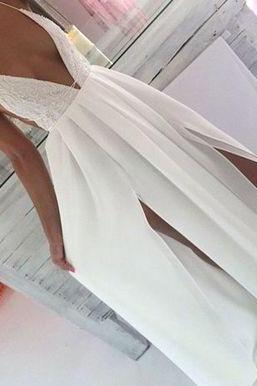 Chiffon Prom Dresses,white Prom Dresses,sexy Prom Dresses,slit evening gowns, Simple Evening Dress, Vintage Women Dress