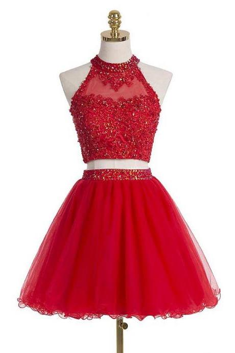 Homecoming Dresses,Two Pieces Red Prom Dresses,Backless Homecoming Dresses,Lace Homecoming Dress,Pretty Party Dresses,Cute Dresses