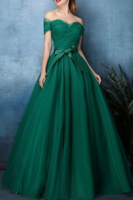 Green Tulle Long Prom Dresses Strapless Wedding Prom Gowns A Line Formal Evening Dress, Plus Size Prom Party Gowns .