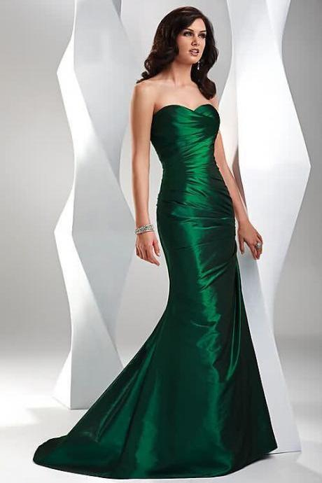 New Arrival Dark Green Taffeta Prom Dress Mermaid 2018 Off Shoulder Women Party Gowns , Mermaid Evening Dress, Plus Size Party Gowns .