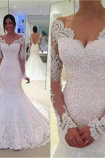 New Arrival Long Sleeve V-Neck Wedding Dresses Mermaid Appliquned China Bridal Gowns Plus Size Wedding Gowns .