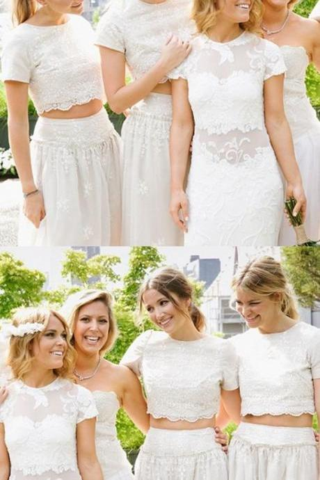 Vintage Two Pieces White Beaded Lace Party Dress, Long Bridesmaid Dress, Women Girls Gowns ,Wedding Bridesmaid Gowns ,Maid Of Honor Gowns