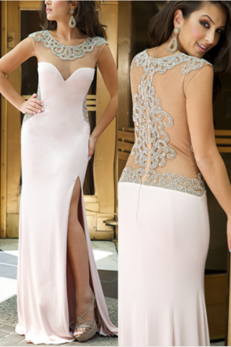Sheath Prom Dress, Sexy backless Custom Made High Quality pink Prom Dresses,Mermiad Prom Dress,Satin Prom Dress,O-Neck Prom Dress, Beading Prom Dresses