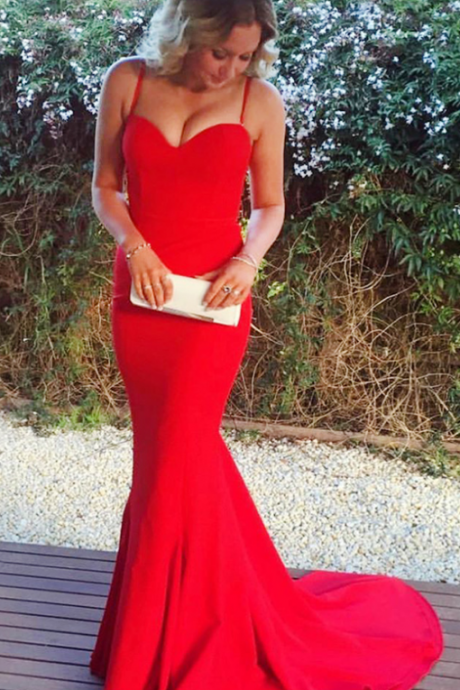 Red Spaghetti Straps Evening Dress Mermaid , Formal Prom Dresses, Plus Size Wedding Party Gowns , Women Prom Gowns .