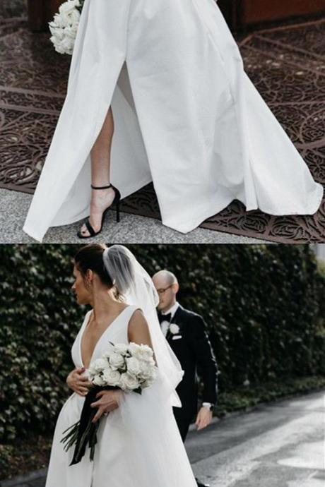 Sexy V-Neck Satin Women Wedding Dresses Back Open Bridal Dress with Side Slit Wedding Gowns Custom Made
