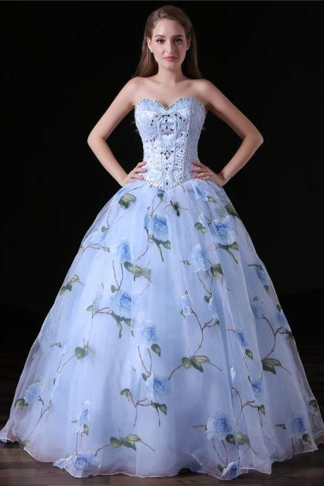 Strapless Beaded Ball Gown Prom Dresses Flowers Skirt Prom Party Gowns , Luxury Pricess Prom Gowns ,16 Sweet Quinceanera Dresses