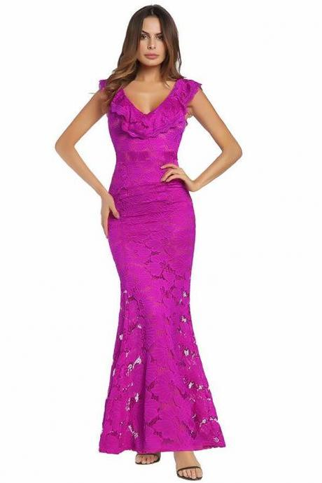 Sexy V-Neck Fuchsia Lace Prom Dress Off Shoulder Mermaid Floor Length Formal Evening Dresses Fashion Wedding Party Gowns