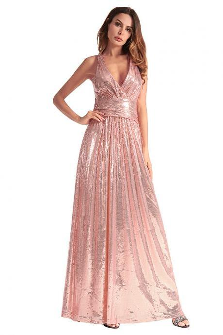 Sexy Cheap Light pink Sequins Bridesmaid Dress Off Shoulder Maid Of Honor Gowns , Girls Party Dress, A Line Party Gowns , Long Prom Dresses