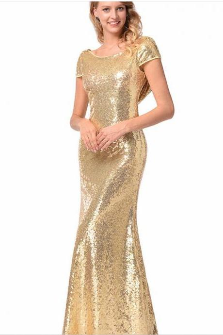 Gold Sequins Bridesmaid Dress Mermaid Plus Size Prom Party Gowns ,Floor Length Maid Of Honor Gowns ,Wedding Prom Gowns