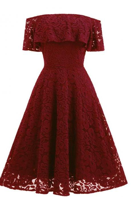 Burgundy Lace Off-The-Shoulder Knee Length Ruffled Skater Homecoming Dress
