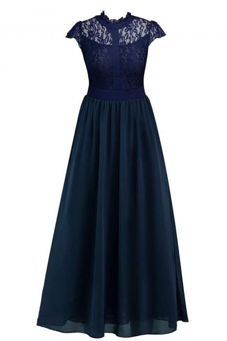 New Arrival Navy Blue Women Maxi Dress A lINE Prom Dresses,Cheap Party Gowns