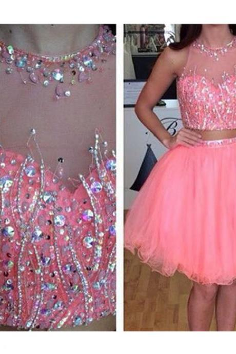 Luxury Pink Beaded Crystal Short Prom Dress Two Pieces Tulle Mini Homecoming Dress Fashion Girls 16 Graduation Gowns .Strapless Tulle Party Gowns