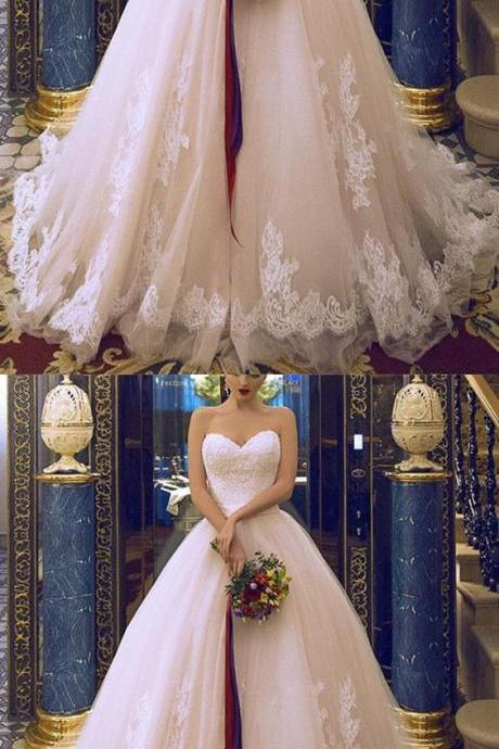 Vintage Sweet Lace Wedding Dresses Women Fashion Pricess Bridal Dess, Strapless Tulle Wedding Gowns With Split