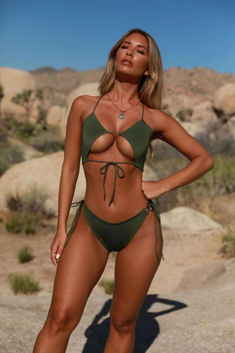 Fashion Swimsuits,Two Pieces Cheap Swimwear,Sexy Lady Swimsuits,Ivory Women Swimsuits,Green Bikini