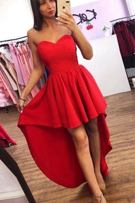 High Low Red Satin Homecoming Dress Off Shoulder Prom Party Gowns ,Red Evening Dress. Maxi Gowns
