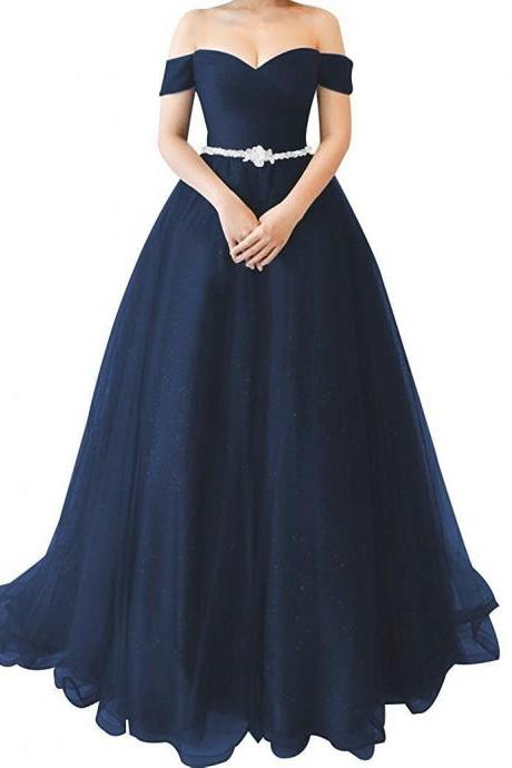 Women Fashion Navy Blue Long Prom Dresses A Line Formal Evening Party Gowns Back Lace Up Sexy Pageant Gowns
