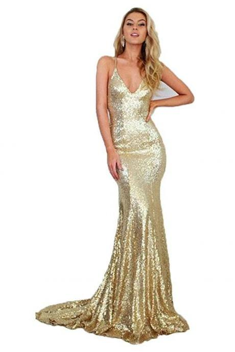 Shiny Gold Sequin Deep V-Neck Mermaid Prom Dress With Spaghetti Strap , Sexy Backless Formal Party Gowns .