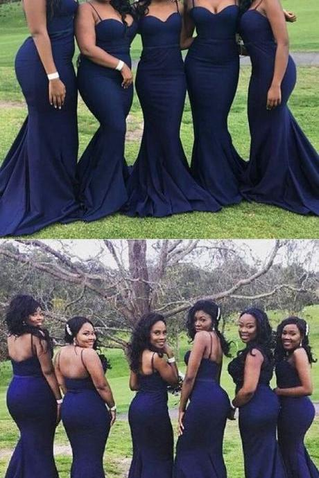 Elegant Spaghetti Strap Long Mermaid Navy Blue Bridesmaid Dress ,Plus Size Maid Of Honor Gowns .