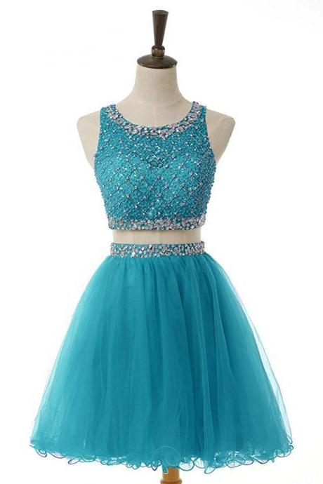 Two Pieces Beaded Luxury Short Homecoming Party Dress,Sexy Scoop Mini Prom Party Gowns ,Junior 16 Graduation Dress