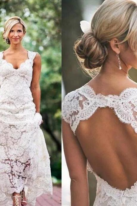 Vintage Lace China Wedding Dresses Country A Line Backless Women Bridal Gowns , Off Shoulder Bridal Dress