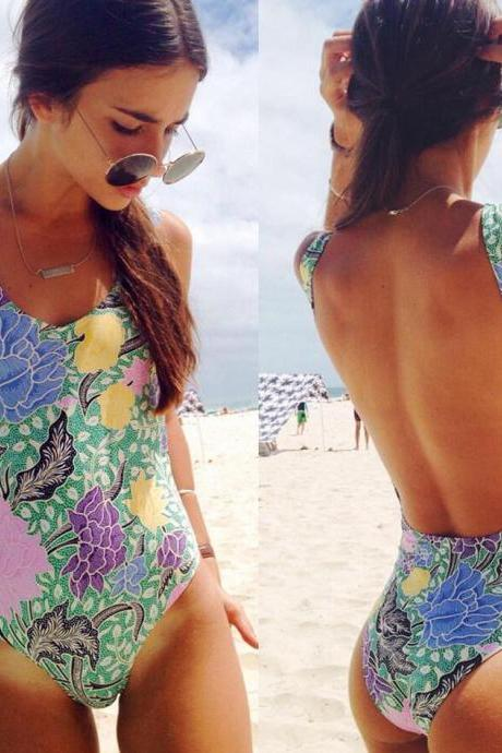 Beach Floral Printing Bikini , Fashion Sexy Swimwear, Cheap Girls Swimsuits One Pieces