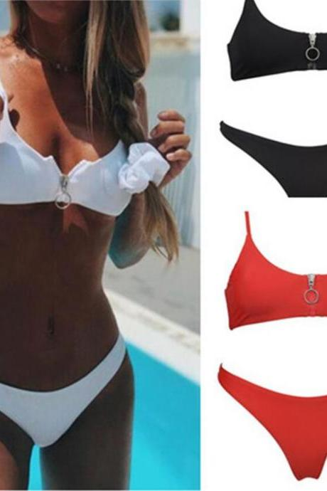 Fashion Girls Bikini , Cheap Swimwear With Zipper ,Solid Girls Beach Swimsuits
