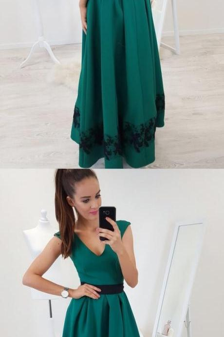 A-Line V-Neck Cap Sleeves Floor-Length Dark Green Prom Dress with Lace Pleats ,Sexy Long Prom Party Dresses