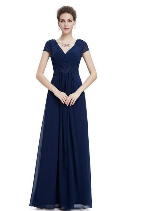 New Arrival Cheap Navy Blue Chiffon Prom Dress Floor Length Women Evening Dress Cheap ,. A line Prom Gowns