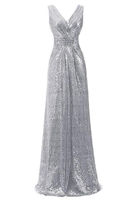 Shiny Gray Sequin Long Prom Dress, A Line Bridesmaid Dresses, Wedding Party Gowns .