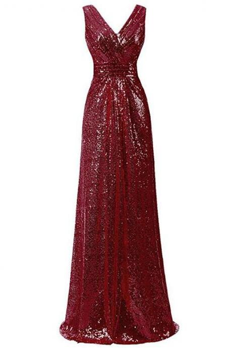 Plus Size Wine Sequin Formal Prom Dress Fashion Women Party Dress A Line Summer Gowns ,V-Neck Evening Dress fashion bridesmaid dresses
