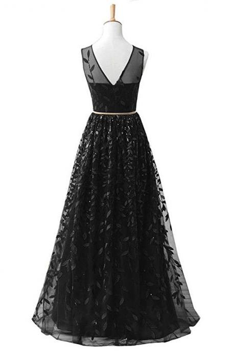 New Arrival Black Long Prom Dress Sexy Backless Formal Women Gowns Formal Evening Party Dresses, Wedding Guest Gowns