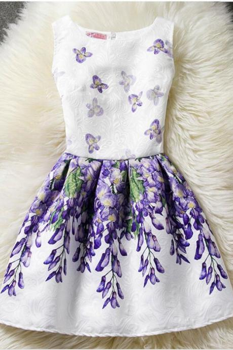Foral Print Girls Party Dress ,Wedding Flower Girl Dresses, ,Lavender Short Prom Dresses,Mini Pageant Dress