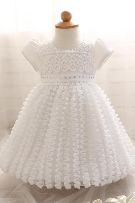 White Pricess Prom Dress, Flower Girl Dress Short , Wedding Flower Girls Dresses