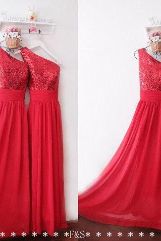 Red One-Shoulder Sequin corset Long Bridesmaid Dress Off Shoulder Formal Party Dress, A Line Women Bridesmaid Gowns
