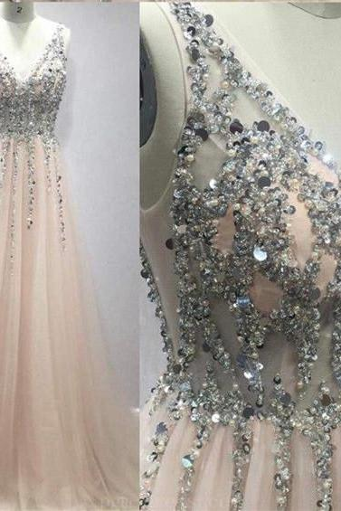 Women Beaded Blush Pink Tulle Prom Dresses ,fashion women party dresses