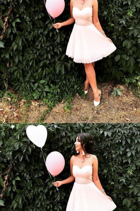 A Line Light Pink Ruffle Short Homecoming Dress, Fashion Mini Party Dress ,Girls Pageant Dresses