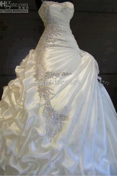 Luxury Beaded Crystal China Wedding Dresses Ruffle Women Custom Made Bridal Gowns