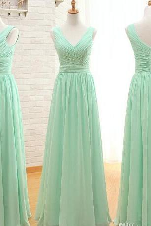 Mint Green Chiffon Ruffle Long Bridesmaid Dresses 2018 Sexy V-Neck Bridesmaid Gowms Women .Formal Party Dresses