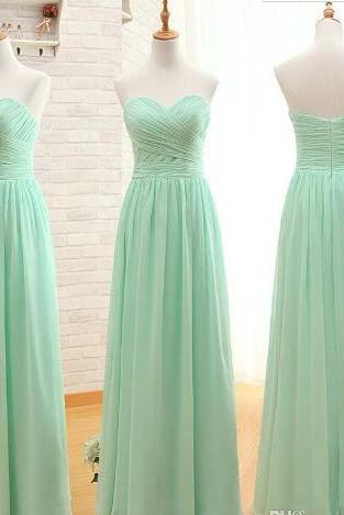 Plus Size Chifon Wedding Bridesmaid Dresses, Mint Green A lINE Bridesmaid Gowns , 16 Sweet Prom Gowns
