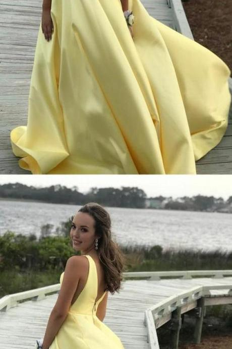 Sexy V-Neck Yellow Satin Long Prom Dresses Pricess 2019 Vintage Plus Size Ball Gowns Prom Gowns ,Long Evening Dress