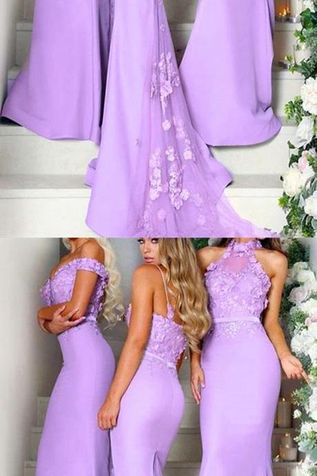 New Arrival Sexy Lavender Floral Lace Long Mermaid Bridesmaid Dresses Off Shoulder Party gowns .