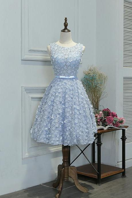 New Arrival Scoop Lace Flowers Short Homecoming Dress With Beading Sexy Backless Junior Prom Gowns