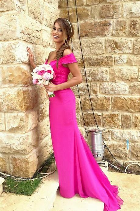 New Arrival Fuchsia Lace Prom Dress Women Mermaid Prom Gowns Off Shoulder Bridesmaid Dresses