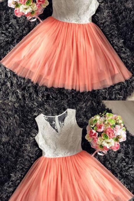 IIIous Sexy V-Neck Coral Tulle Short Homecoming Dresses A Line Women Cocktail Gowns Cheap