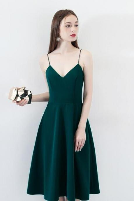 simple green short homecoming dress ,spaghetti strap mini cocktail party dresss, a line women geaduation gowns