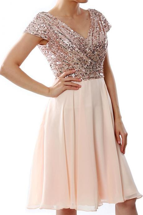 Sexy V-Neck Homecoming Dress With Caped Sleeve Rose Gold Sequin Corset Short Graduation Party Gowns A Line