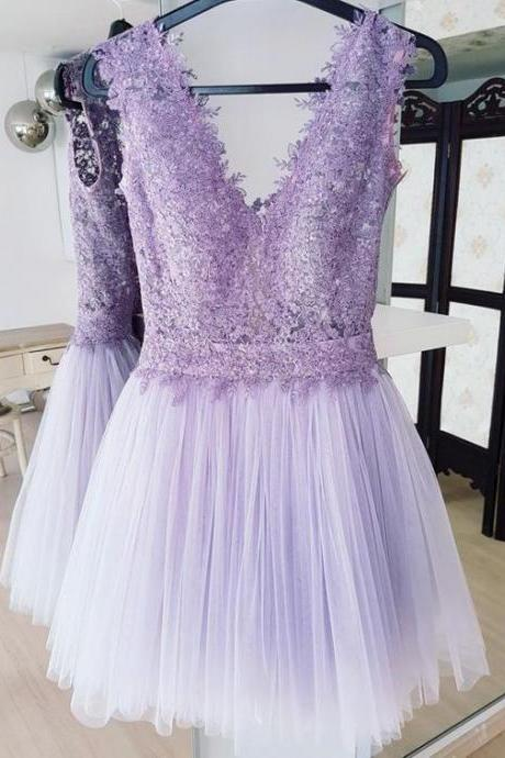 Sexy Lavender Lace Short Homecoming Dresses A Line Women Prom Gowns Short, Cheap Tulle Party Gowns