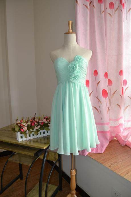 New Arrival Mint Green Chiffon Short Bridesmaid Dresses With Flowers Mini Women Maid Of Honor Gowns