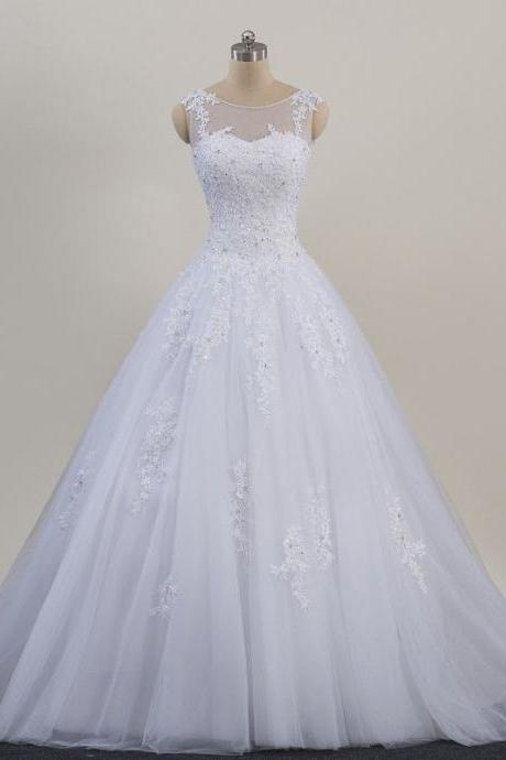 New Arrival White Tulle Scoop Lace Wedding Dress With Ball Gown Fashion Women Bridal Gowns